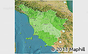 Political Shades 3D Map of Toscana, satellite outside