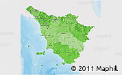 Political Shades 3D Map of Toscana, single color outside