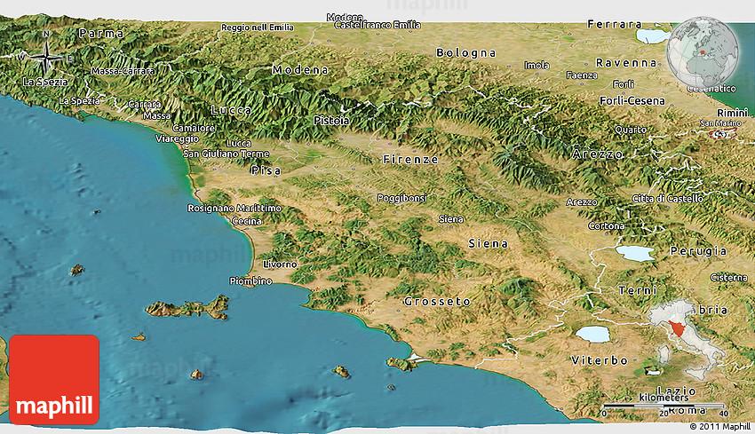 Satellite Panoramic Map of Toscana
