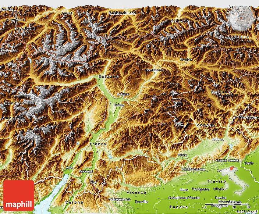 Physical 3D Map of TrentinoAlto Adige