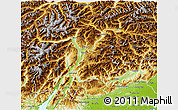 Physical 3D Map of Trentino-Alto Adige