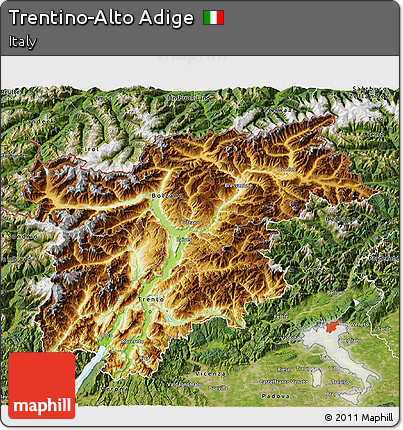 Free Physical 3D Map of TrentinoAlto Adige satellite outside