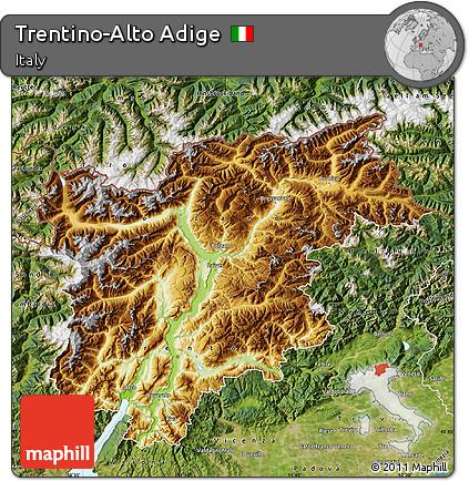 Free Physical Map of TrentinoAlto Adige satellite outside