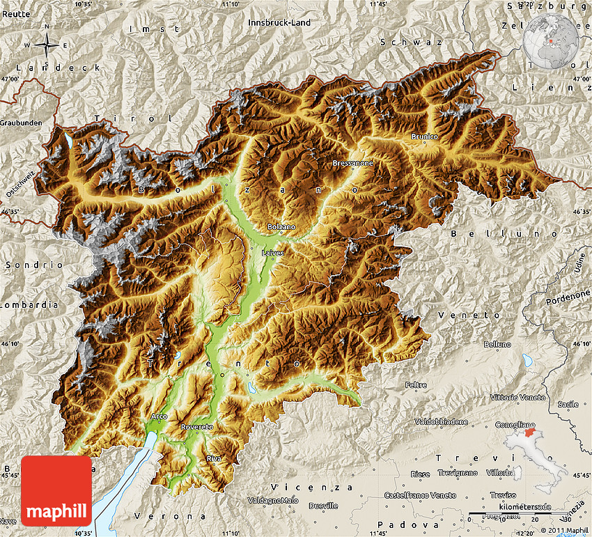 Physical Map of TrentinoAlto Adige shaded relief outside