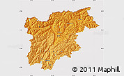 Political Shades Map of Trentino-Alto Adige, cropped outside