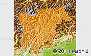 Political Shades Map of Trentino-Alto Adige, physical outside