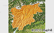 Political Shades Map of Trentino-Alto Adige, satellite outside