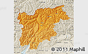 Political Shades Map of Trentino-Alto Adige, shaded relief outside
