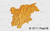 Political Shades Map of Trentino-Alto Adige, single color outside