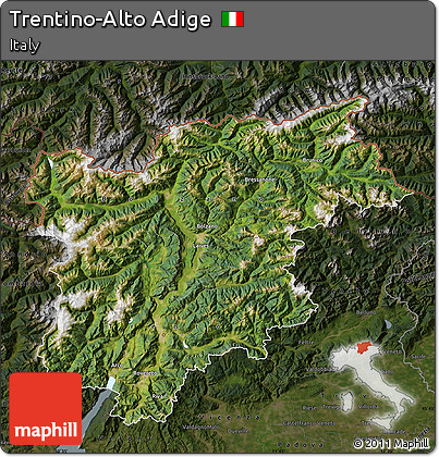 Free Satellite Map of TrentinoAlto Adige darken