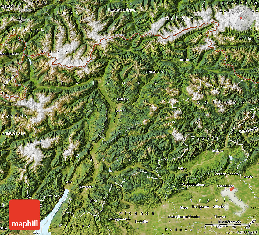 Satellite Map of TrentinoAlto Adige