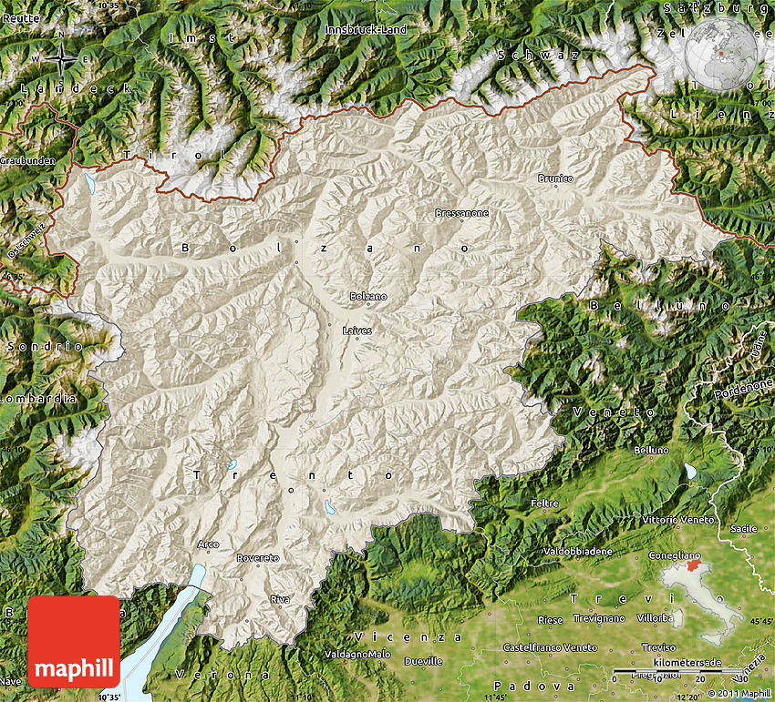 Shaded Relief Map of TrentinoAlto Adige satellite outside