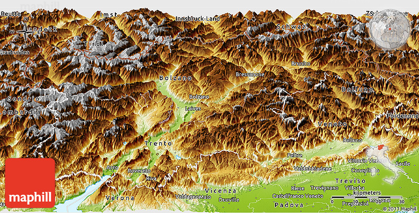 Physical Panoramic Map of TrentinoAlto Adige