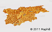 Political Shades Panoramic Map of Trentino-Alto Adige, cropped outside
