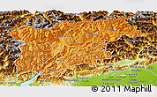 Political Shades Panoramic Map of Trentino-Alto Adige, physical outside