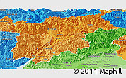 Political Shades Panoramic Map of Trentino-Alto Adige
