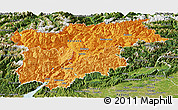 Political Shades Panoramic Map of Trentino-Alto Adige, satellite outside