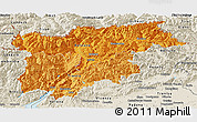 Political Shades Panoramic Map of Trentino-Alto Adige, shaded relief outside