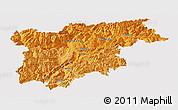 Political Shades Panoramic Map of Trentino-Alto Adige, single color outside