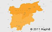 Political Shades Simple Map of Trentino-Alto Adige, single color outside