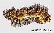 Physical 3D Map of Valle d'Aosta, cropped outside