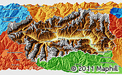 Physical 3D Map of Valle d'Aosta, political outside