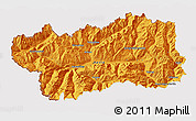 Political 3D Map of Valle d'Aosta, cropped outside