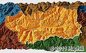 Political 3D Map of Valle d'Aosta, darken