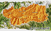 Political 3D Map of Valle d'Aosta, satellite outside