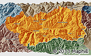 Political 3D Map of Valle d'Aosta, semi-desaturated