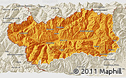 Political 3D Map of Valle d'Aosta, shaded relief outside