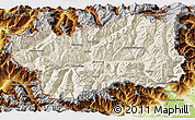 Shaded Relief 3D Map of Valle d'Aosta, physical outside