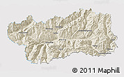 Shaded Relief 3D Map of Valle d'Aosta, single color outside