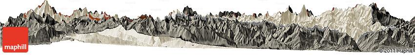 Shaded Relief Horizon Map of Valle D'Aosta, darken