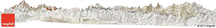 Shaded Relief Horizon Map of Valle D'Aosta, lighten