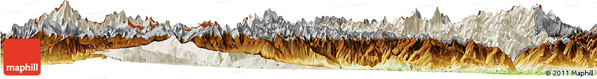 Shaded Relief Horizon Map of Valle D'Aosta, physical outside