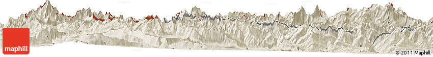 Shaded Relief Horizon Map of Valle D'Aosta