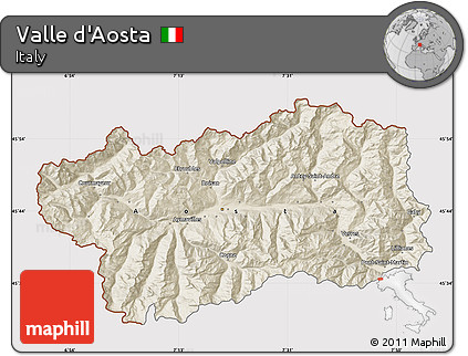 Shaded Relief Map of Valle D'Aosta, cropped outside
