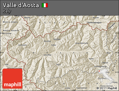 Shaded Relief Map of Valle D'Aosta