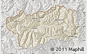 Shaded Relief Map of Valle d'Aosta, lighten, semi-desaturated