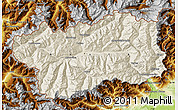 Shaded Relief Map of Valle d'Aosta, physical outside
