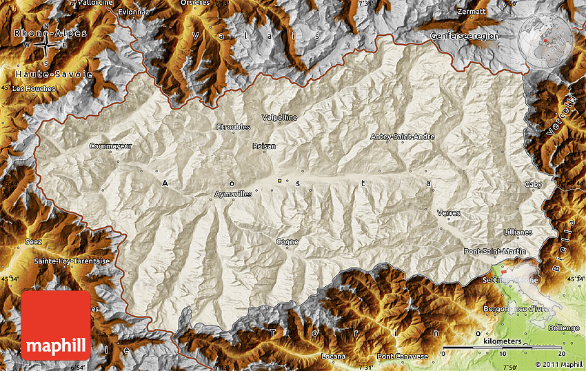 Shaded Relief Map of Valle DAosta physical outside