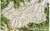 Shaded Relief Map of Valle d'Aosta, satellite outside
