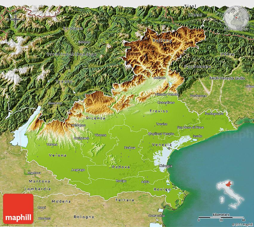 Physical 3D Map of Veneto satellite outside
