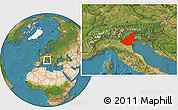 Satellite Location Map of Veneto