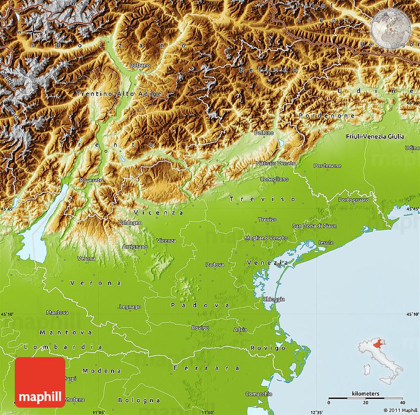 Physical Map Of Veneto
