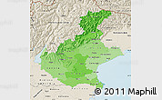 Political Shades Map of Veneto, shaded relief outside