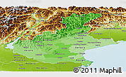 Political Shades Panoramic Map of Veneto, physical outside
