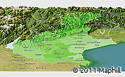Political Shades Panoramic Map of Veneto, satellite outside