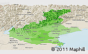 Political Shades Panoramic Map of Veneto, shaded relief outside